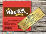 Willy Wonka Invitations Templates Willy Wonka Golden Ticket Invitation Chocolate Wrapper