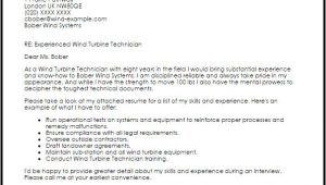 Wind Turbine Technician Cover Letter Wind Turbine Technician Cover Letter Sample Cover Letter