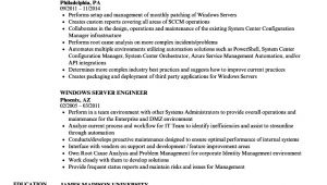 Windows Server Engineer Resume Windows Server Engineer Resume Samples Velvet Jobs