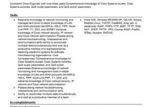 Wireless Network Engineer Resume Cisco Network Engineer Resume Sample Resumes Misc