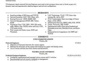 Wireless Network Engineer Resume Network Engineer Resume Sample Technical Resumes