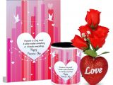 Words to Write In A Love Card Promise is A Big Word Happy Promise Day Valentines Day Greeting Card Mug Hamper with 5 Roses Heart