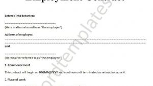 Workers Contract Template Printable Sample Employment Contract Sample form Laywers