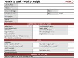 Working at Height Permit to Work Template Hofco Risk assessment