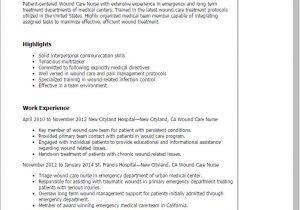 Wound Care Nurse Resume Sample 1 Wound Care Nurse Resume Templates Try them now