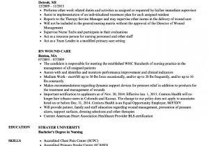 Wound Care Nurse Resume Sample Rn Wound Care Resume Samples Velvet Jobs