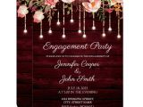 Write Name On Engagement Invitation Card Floral Maroon Wood Rustic Engagement Party Invitation