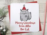 Write Name On Xmas Card Merry Christmas From the Cat Xmas Card