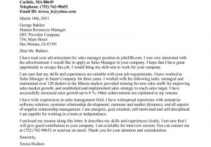 Writing A Cover Letter for A Management Position Cover Letter for Sales and Marketing Manager Position