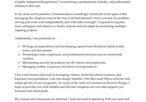 Writing A Cover Letter for A Receptionist Position Best Receptionist Cover Letter Examples Livecareer