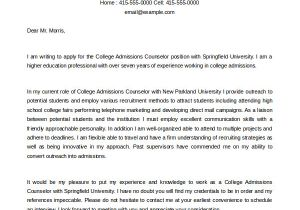 Writing A Cover Letter for College Admissions 6 Admissions Counselor Cover Letters to Download Sample