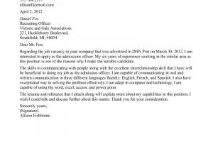 Writing A Cover Letter for College Admissions How to Write A Cover Letter for College Admission