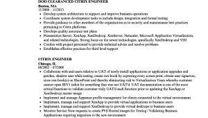 Xendesktop Sample Resume Citrix Engineer Resume Samples Velvet Jobs