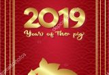 Year Of the Pig Greeting Card 2019 Chinese New Year Year Pig Template Greeting Card