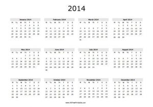 Yearly Planning Calendar Template 2014 2014 Printable Yearly Calendar Icebergcoworking
