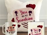 You are My Sunshine Valentine Card Aldivo You are My Sunshine Printed Valentine Combo Gift Pack 12 X 12 Cushion Cover with Filler Printed Coffee Mug Greeting Card Printed Key