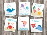 You are My World Valentine Card Ocean Friends Printable Cutout Valentines for Kids