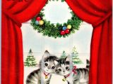 You Want A Christmas Card Elaine Unused Rust Craft Kitty Cat Kitten Window ornament Vtg