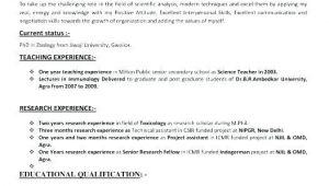 Zoology Teacher Resume Sample for Msc Zoology 3 Resume format Teaching Resume Job