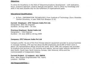 Zte Bss Engineer Resume Curriculum Vitae