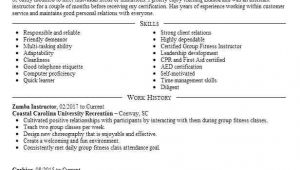 Zumba Instructor Sample Resume Zumba Instructor Resume Sample Resumes Misc Livecareer